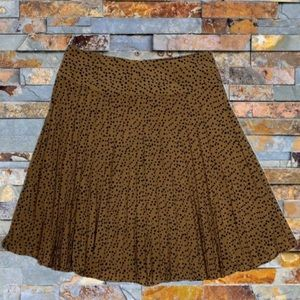 REVIEW Pleated Brown Black Polkadot Skirt Size 10